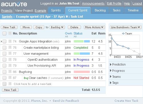 Acunote-screenshot